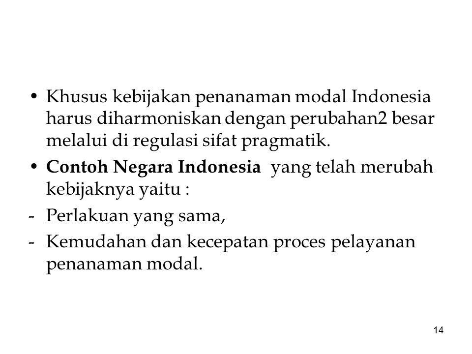 Khusus kebijakan penanaman modal Indonesia harus diharmoniskan dengan perubahan2 besar melalui di regulasi sifat pragmatik.