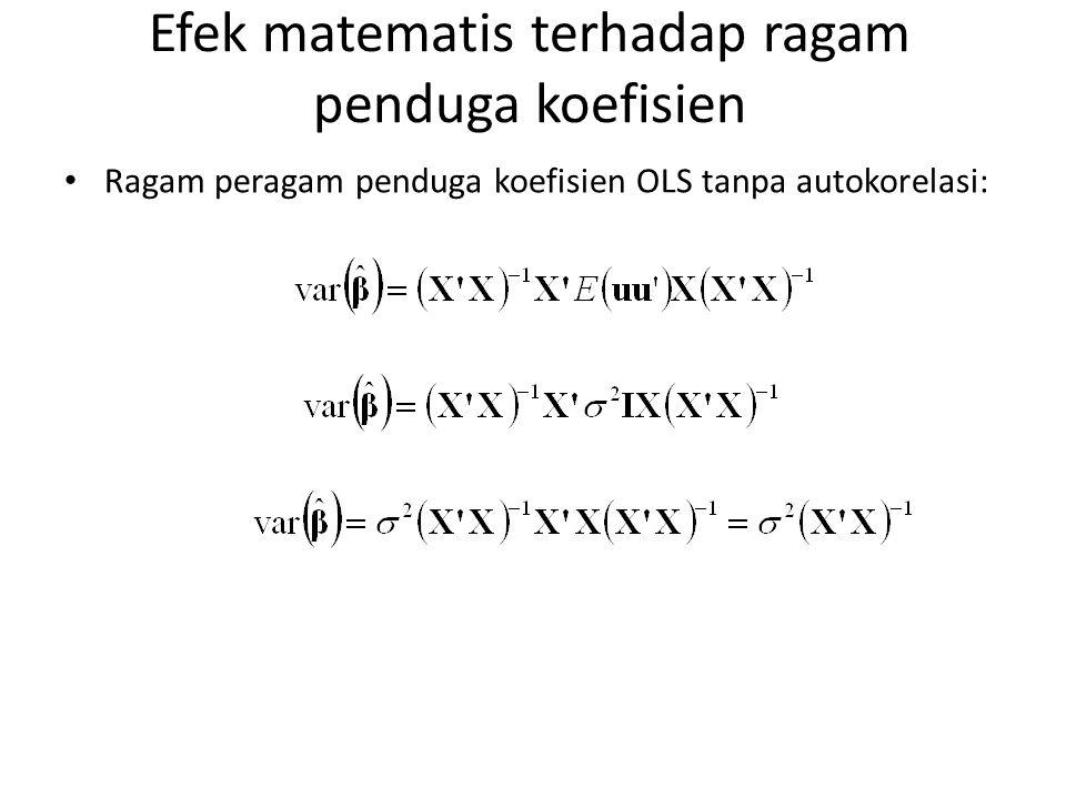 Efek matematis terhadap ragam penduga koefisien