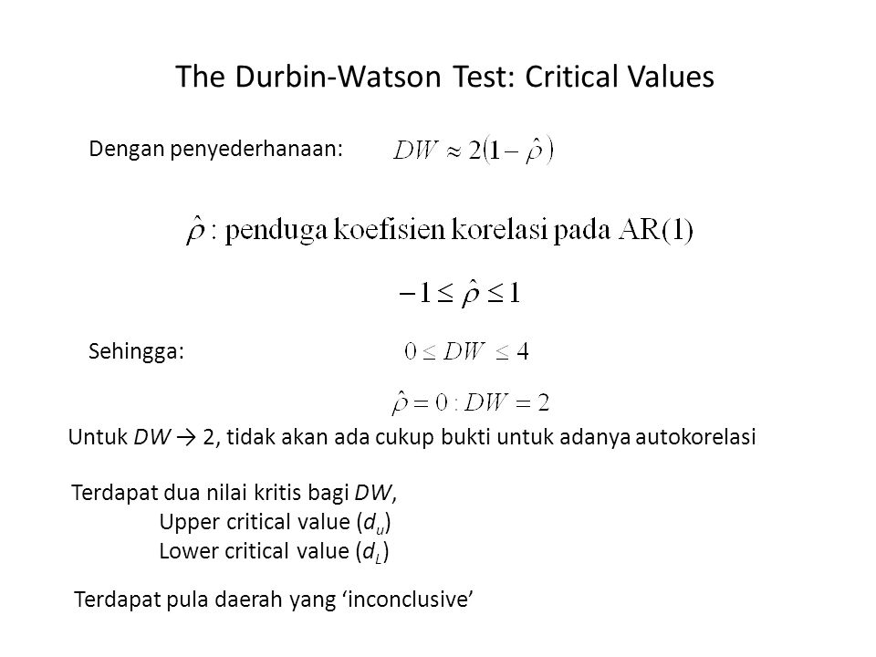 The Durbin-Watson Test: Critical Values