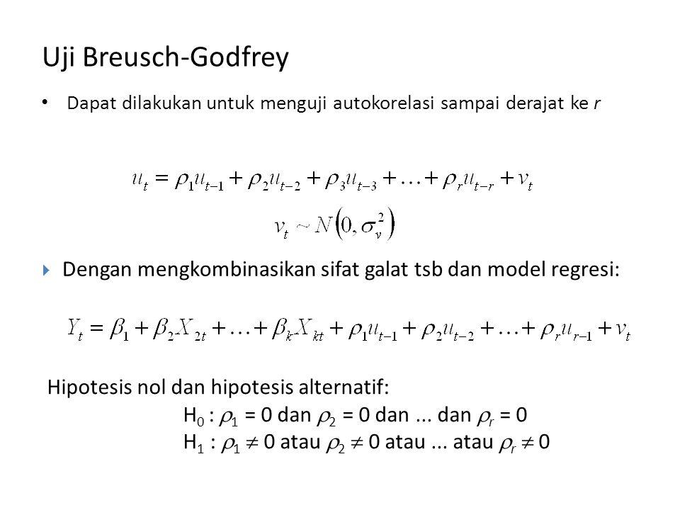 Uji Breusch-Godfrey Dapat dilakukan untuk menguji autokorelasi sampai derajat ke r. Dengan mengkombinasikan sifat galat tsb dan model regresi: