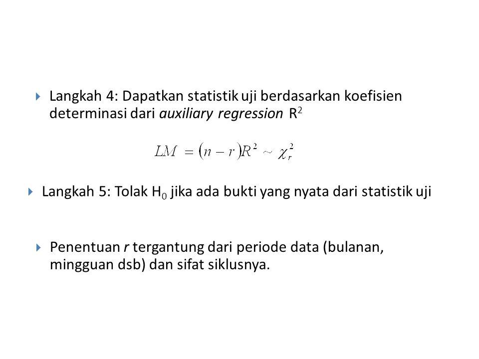 Langkah 4: Dapatkan statistik uji berdasarkan koefisien determinasi dari auxiliary regression R2