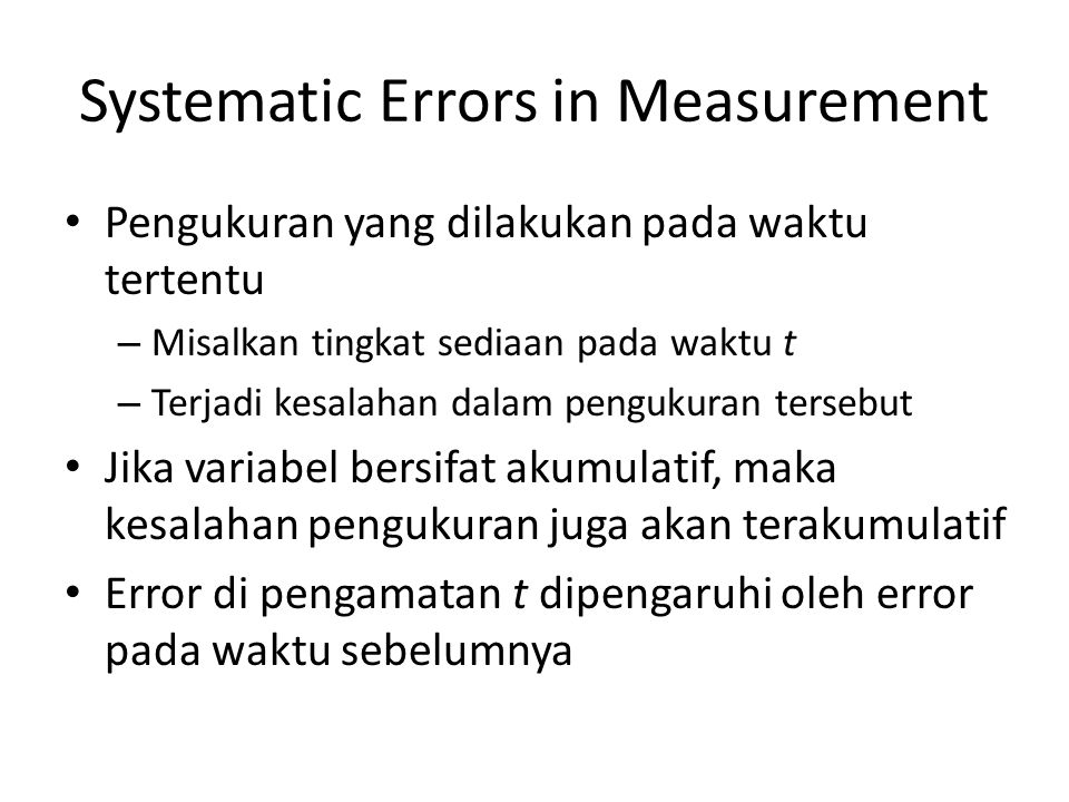 Systematic Errors in Measurement