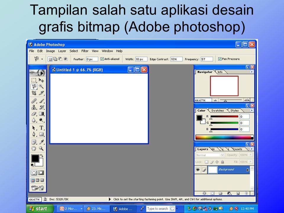 Tampilan salah satu aplikasi desain grafis bitmap (Adobe photoshop)