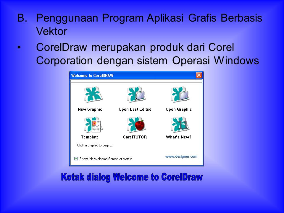 Kotak dialog Welcome to CorelDraw