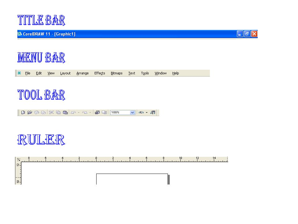 title bar Menu bar tool bar ruler