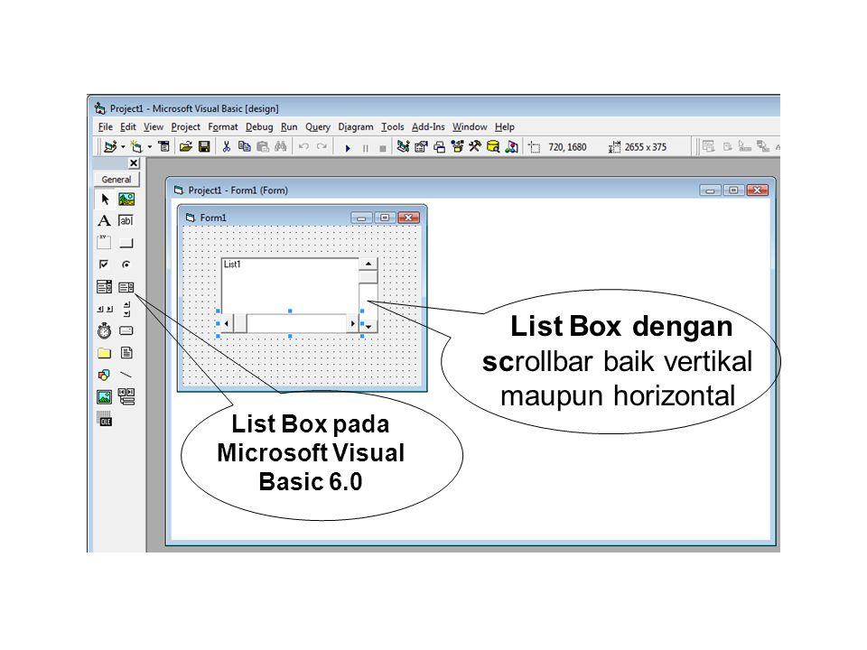 List Box dengan scrollbar baik vertikal maupun horizontal