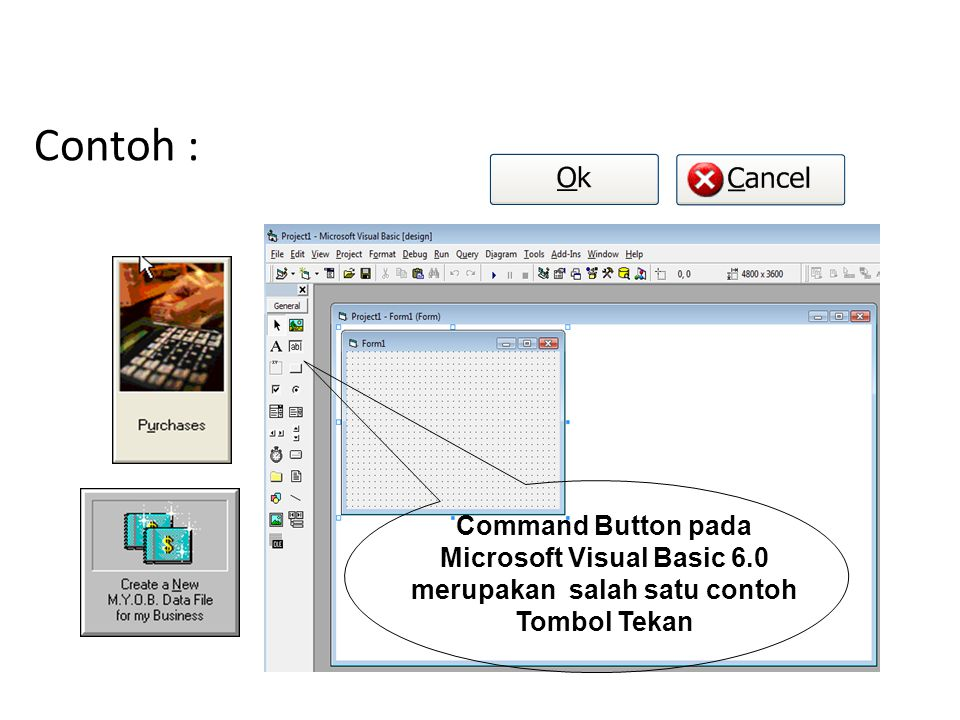 Microsoft Visual Basic 6.0 merupakan salah satu contoh Tombol Tekan