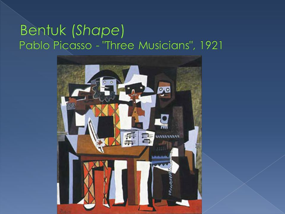 Bentuk (Shape) Pablo Picasso - Three Musicians , 1921