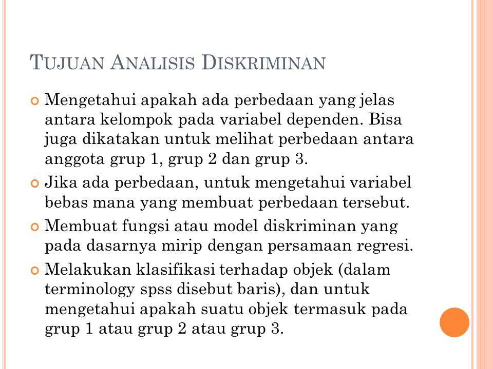 Tujuan Analisis Diskriminan