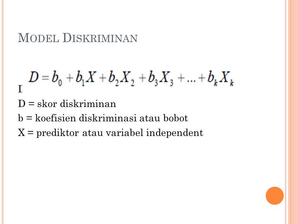Model Diskriminan Dengan : D = skor diskriminan b = koefisien diskriminasi atau bobot X = prediktor atau variabel independent