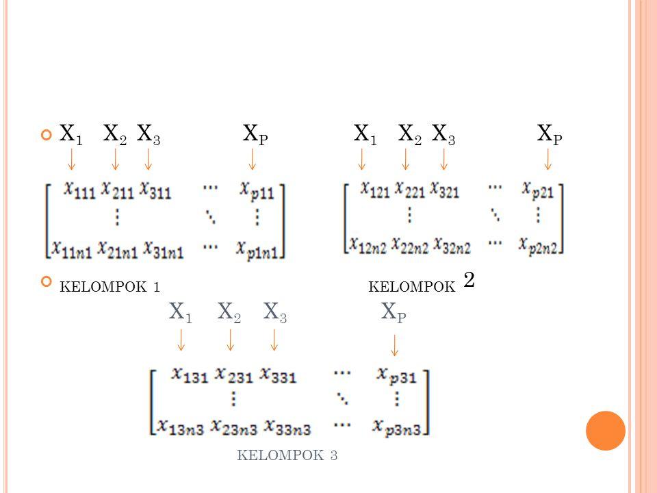 X1 X2 X3 XP X1 X2 X3 XP KELOMPOK 1 KELOMPOK 2.