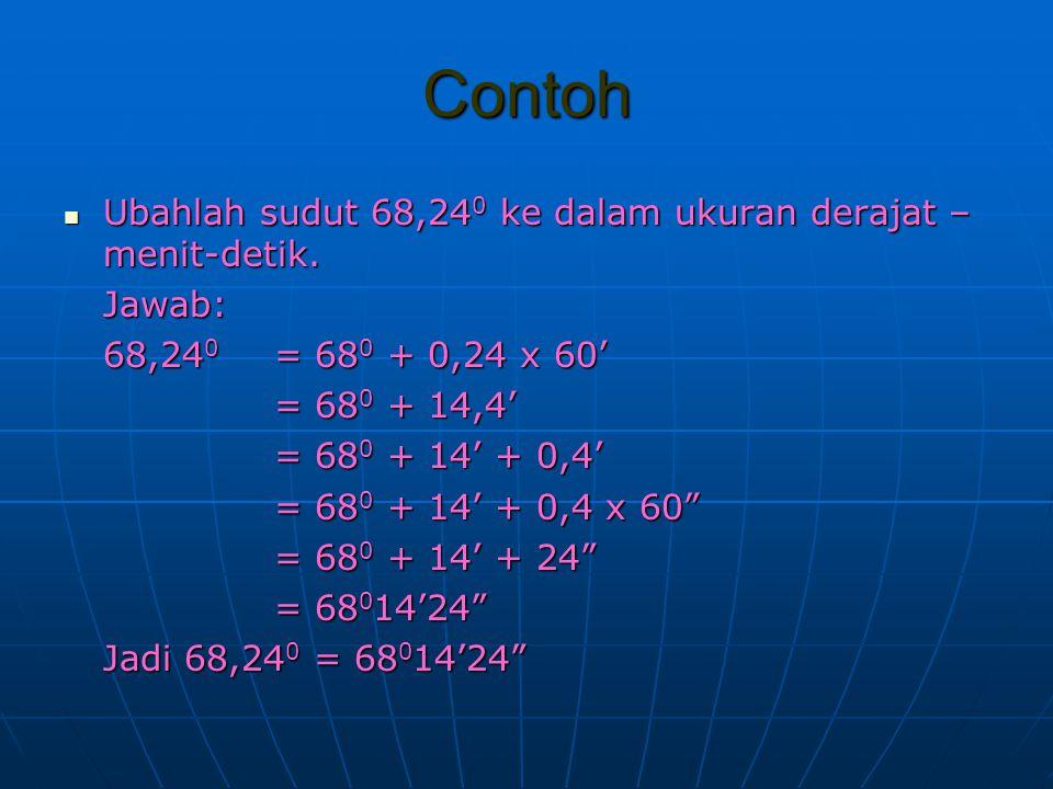 Contoh Ubahlah sudut 68,240 ke dalam ukuran derajat –menit-detik.