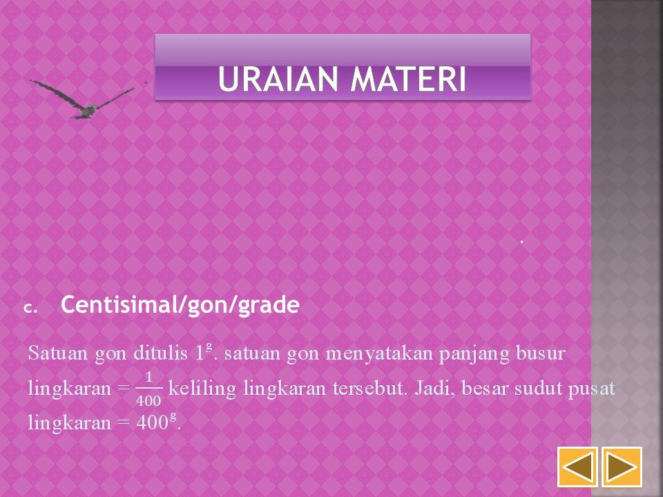 Uraian Materi Centisimal/gon/grade