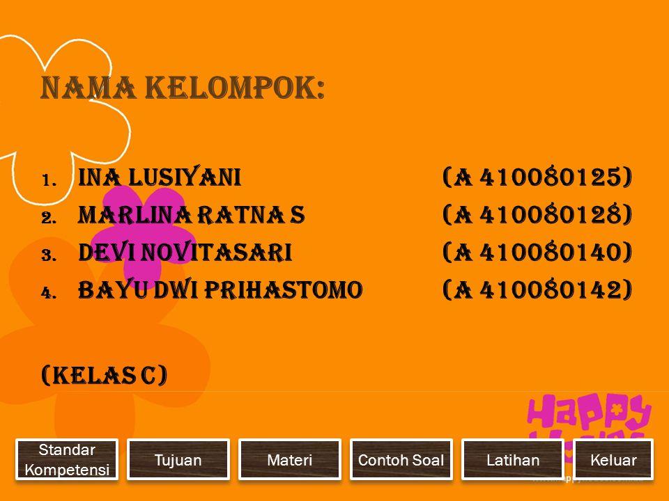 Nama Kelompok: Ina Lusiyani (A 410080125)