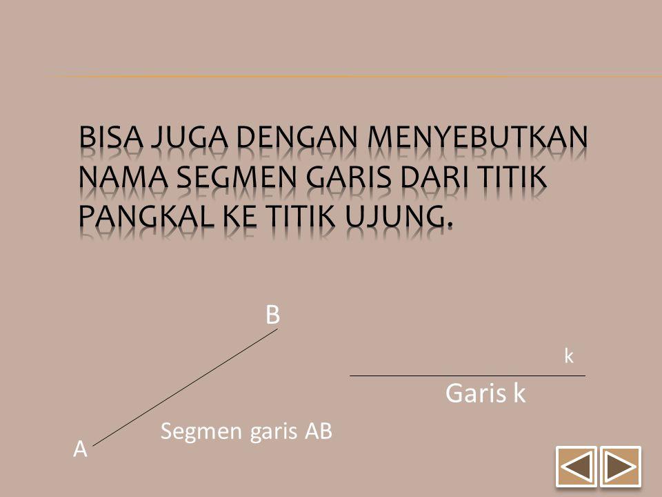 Bisa juga dengan menyebutkan nama segmen garis dari titik pangkal ke titik ujung.