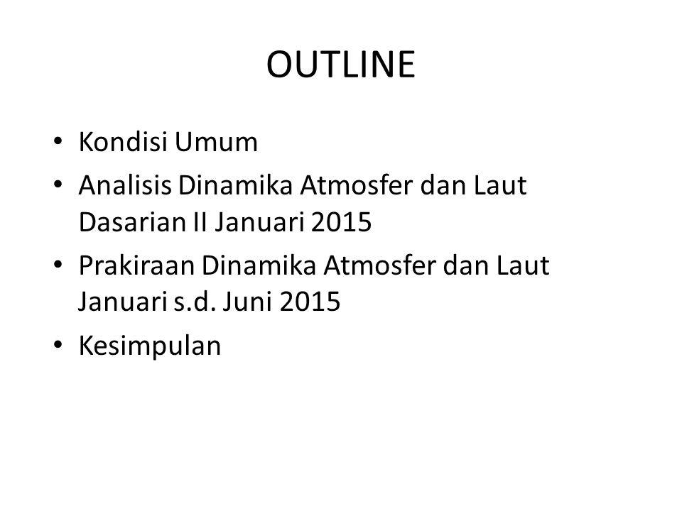 OUTLINE Kondisi Umum. Analisis Dinamika Atmosfer dan Laut Dasarian II Januari 2015. Prakiraan Dinamika Atmosfer dan Laut Januari s.d. Juni 2015.