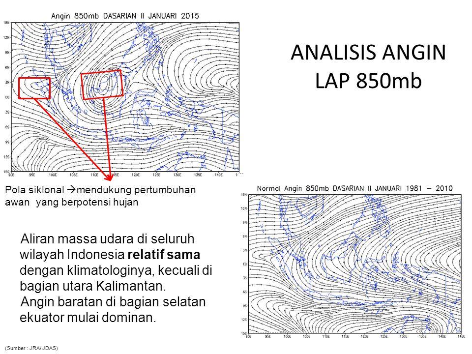 ANALISIS ANGIN LAP 850mb Pola siklonal mendukung pertumbuhan awan yang berpotensi hujan.