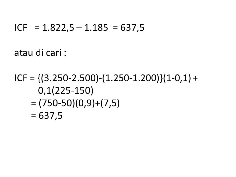 ICF = 1. 822,5 – 1. 185 = 637,5 atau di cari : ICF = {(3. 250-2