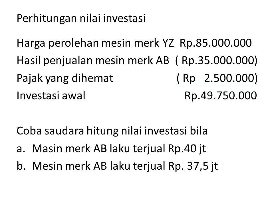 Perhitungan nilai investasi