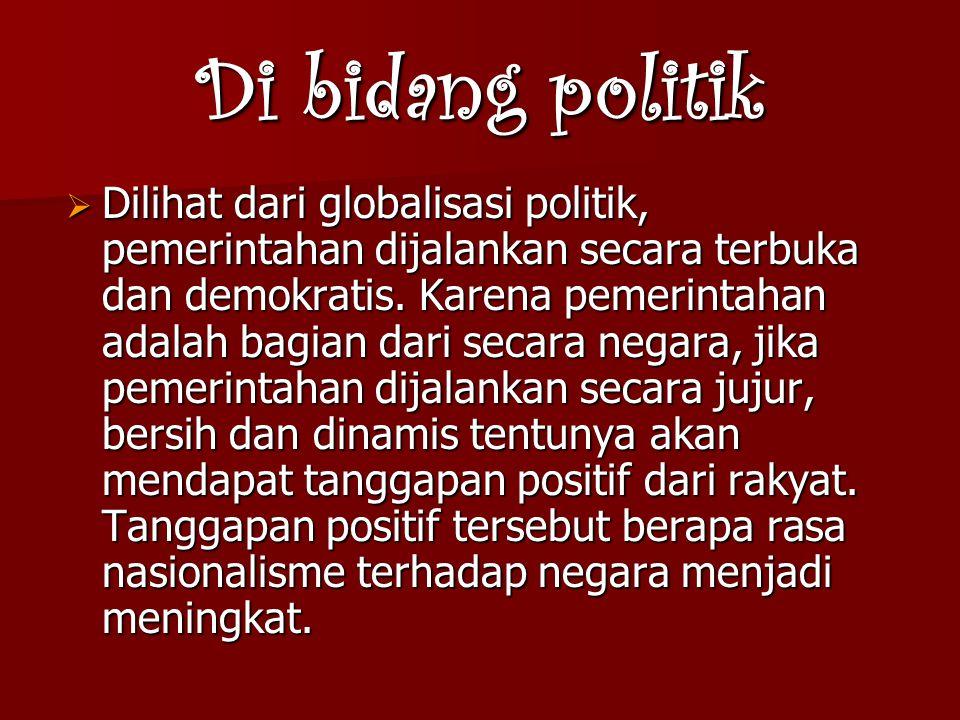 Di bidang politik