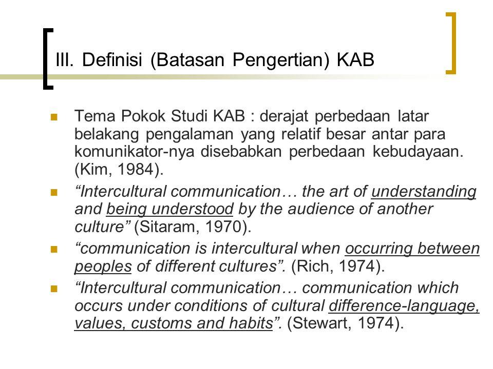 III. Definisi (Batasan Pengertian) KAB