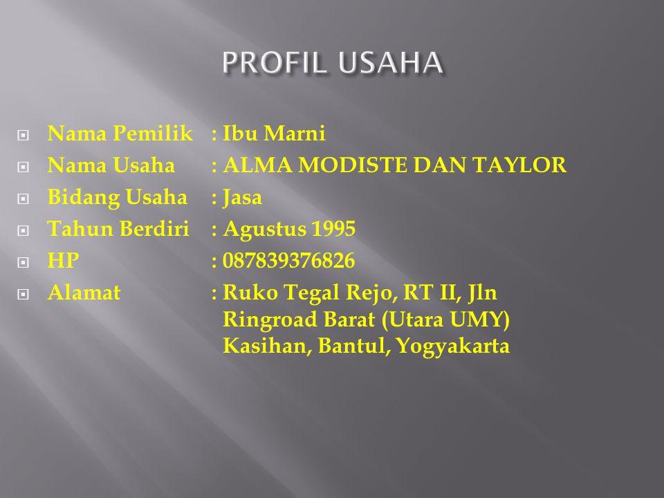 PROFIL USAHA Nama Pemilik : Ibu Marni
