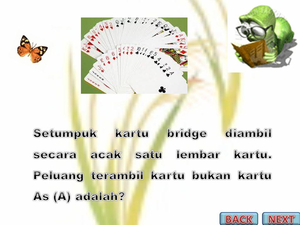 Setumpuk kartu bridge diambil secara acak satu lembar kartu