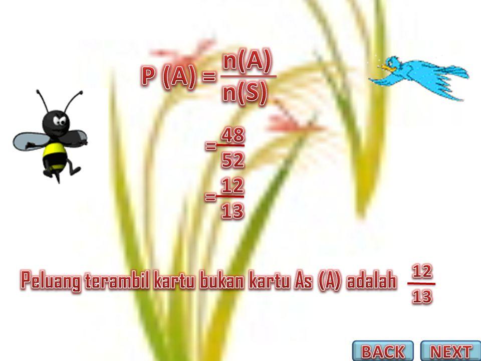 n(A) P (A) = n(S) 48 = 52 12 = 13 12 Peluang terambil kartu bukan kartu As (A) adalah 13 BACK NEXT