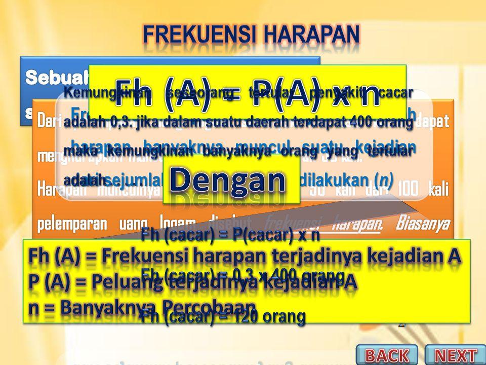 Fh (A) = P(A) x n Dengan Frekuensi Harapan