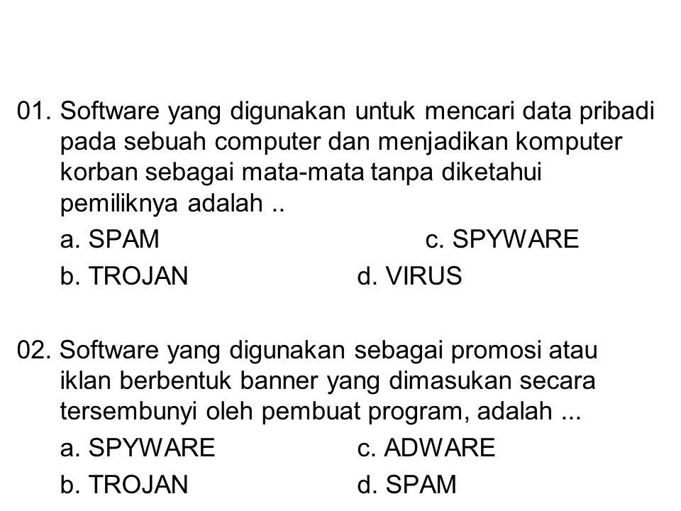 01. Software yang digunakan untuk mencari data pribadi pada sebuah computer dan menjadikan komputer korban sebagai mata-mata tanpa diketahui pemiliknya adalah ..