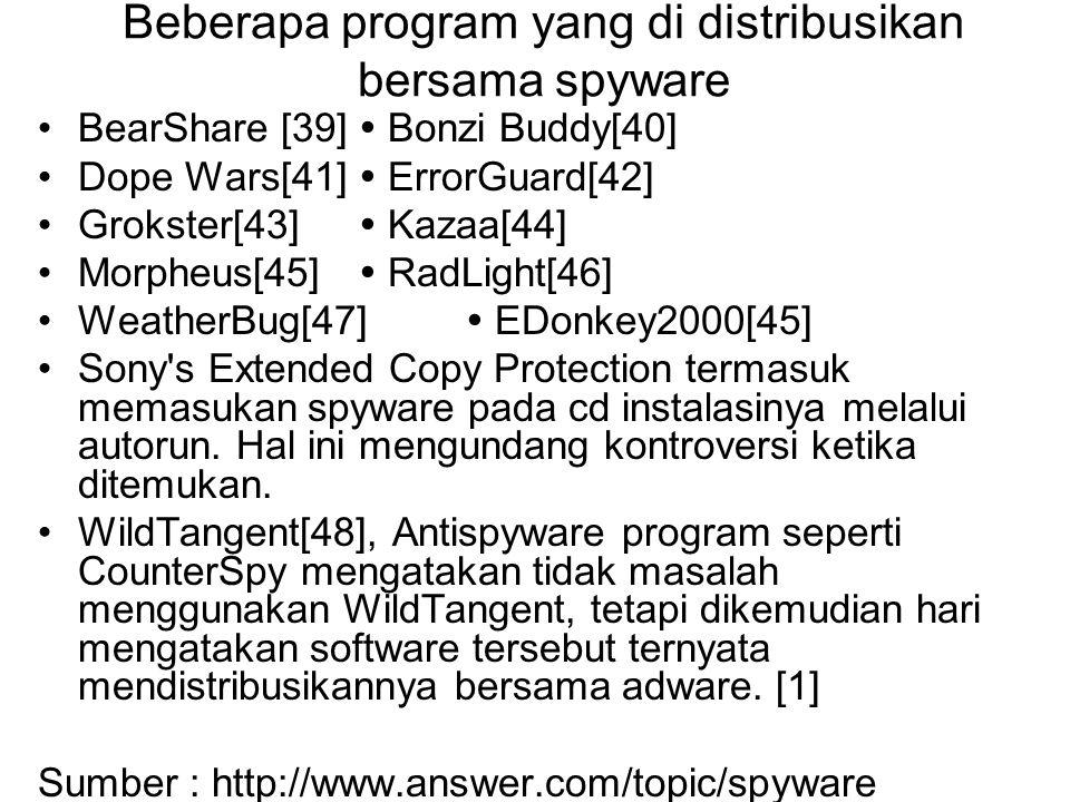 Beberapa program yang di distribusikan bersama spyware