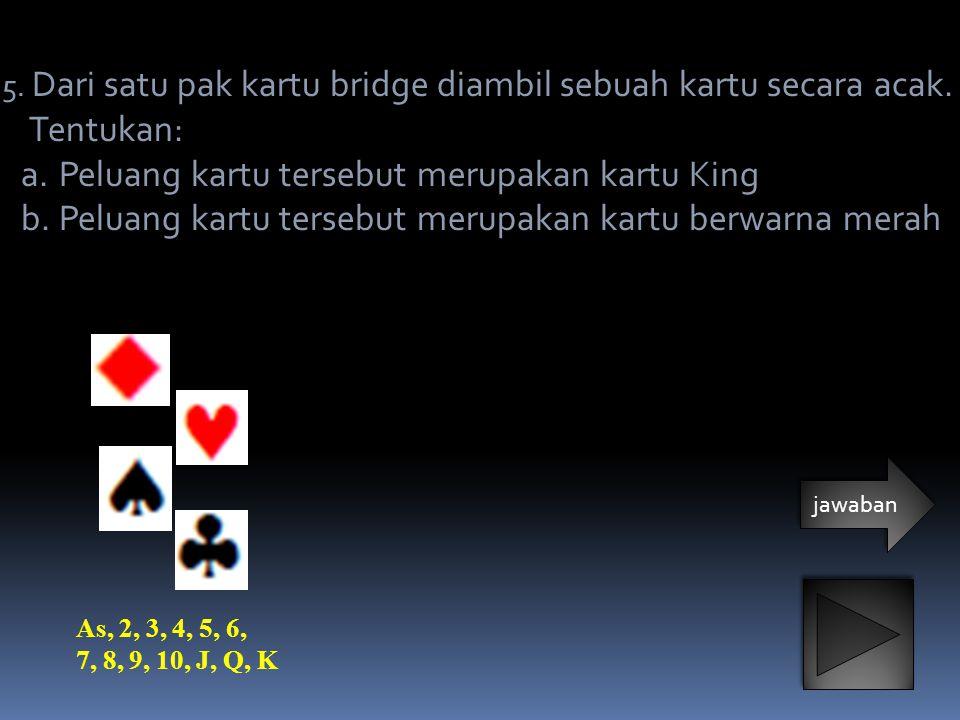 Peluang kartu tersebut merupakan kartu King