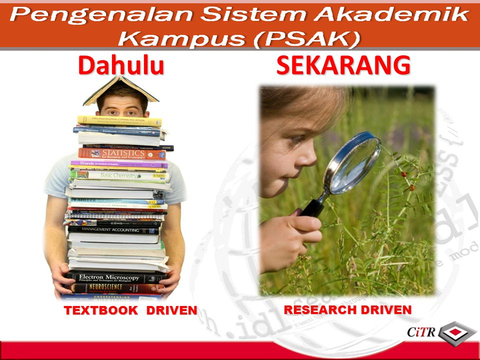 Dahulu SEKARANG TEXTBOOK DRIVEN RESEARCH DRIVEN