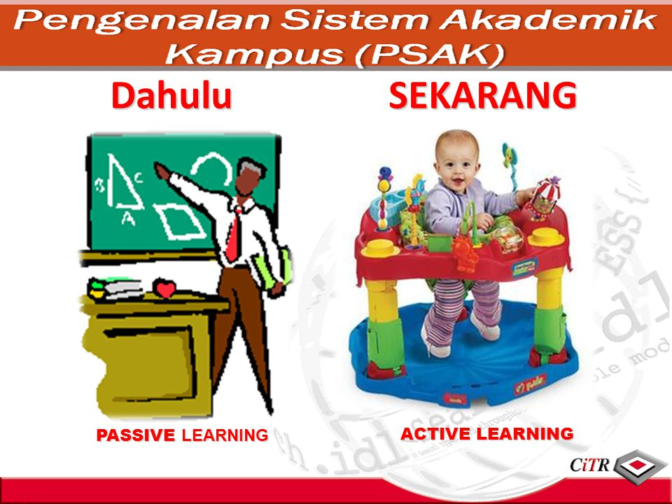 Dahulu SEKARANG PASSIVE LEARNING ACTIVE LEARNING