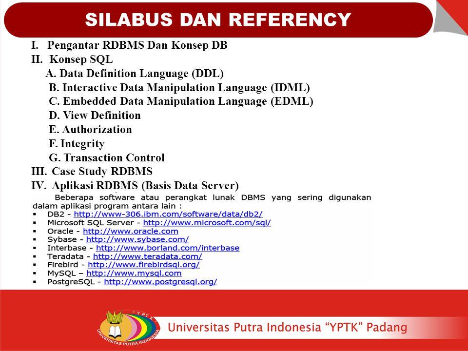 SILABUS DAN REFERENCY I. Pengantar RDBMS Dan Konsep DB II. Konsep SQL