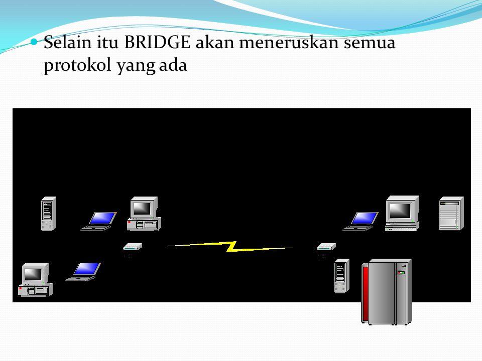 Selain itu BRIDGE akan meneruskan semua protokol yang ada