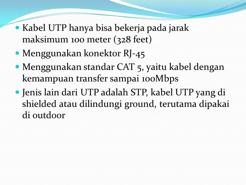 Kabel UTP hanya bisa bekerja pada jarak maksimum 100 meter (328 feet)