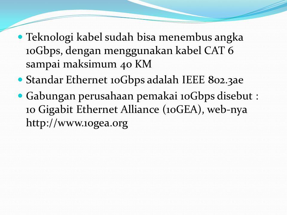 Teknologi kabel sudah bisa menembus angka 10Gbps, dengan menggunakan kabel CAT 6 sampai maksimum 40 KM