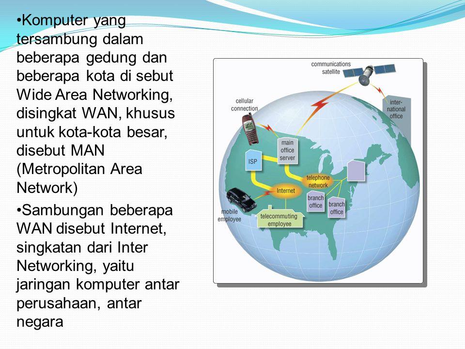 Komputer yang tersambung dalam beberapa gedung dan beberapa kota di sebut Wide Area Networking, disingkat WAN, khusus untuk kota-kota besar, disebut MAN (Metropolitan Area Network)