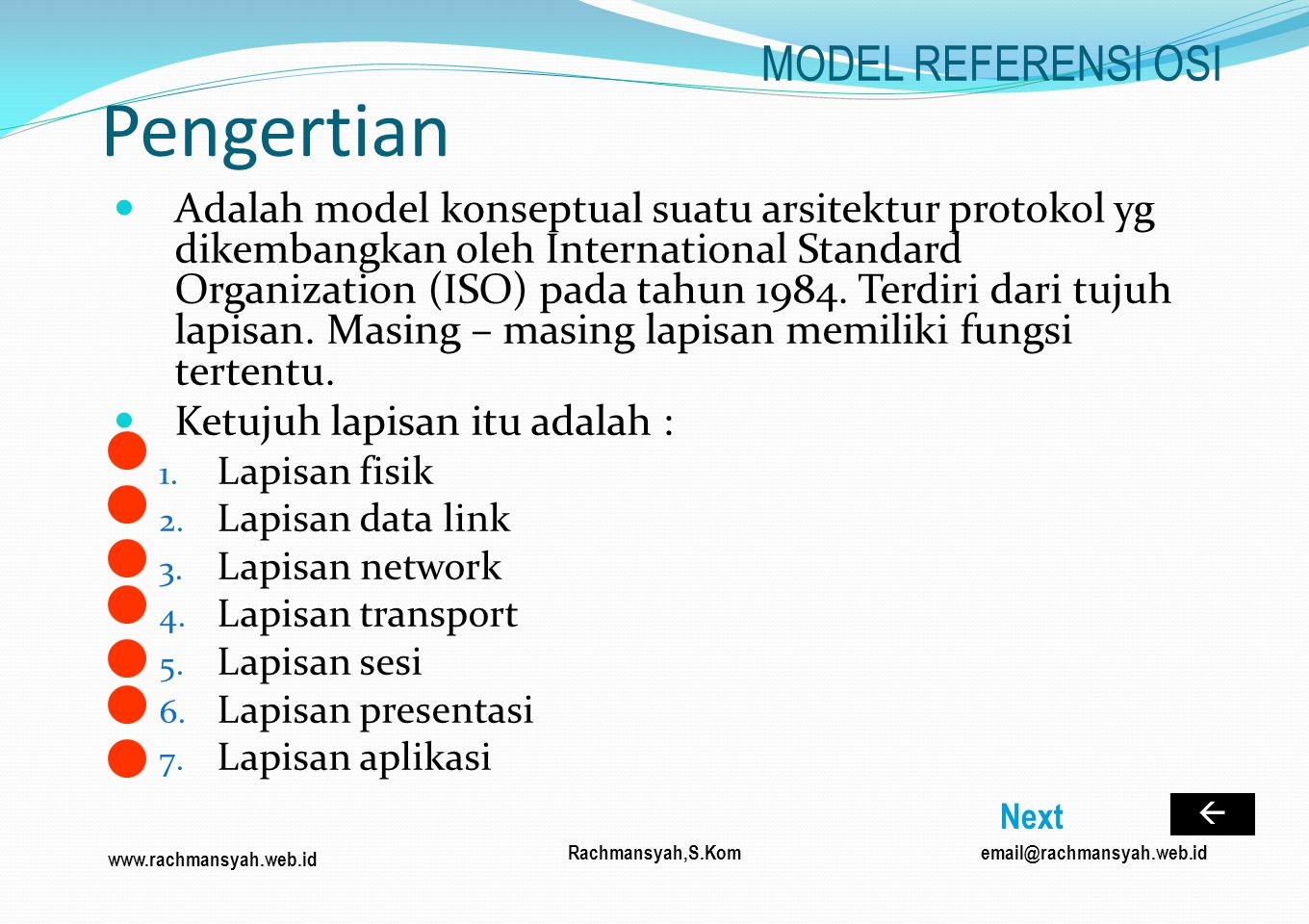 Pengertian MODEL REFERENSI OSI