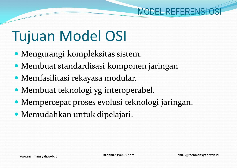 Tujuan Model OSI MODEL REFERENSI OSI Mengurangi kompleksitas sistem.