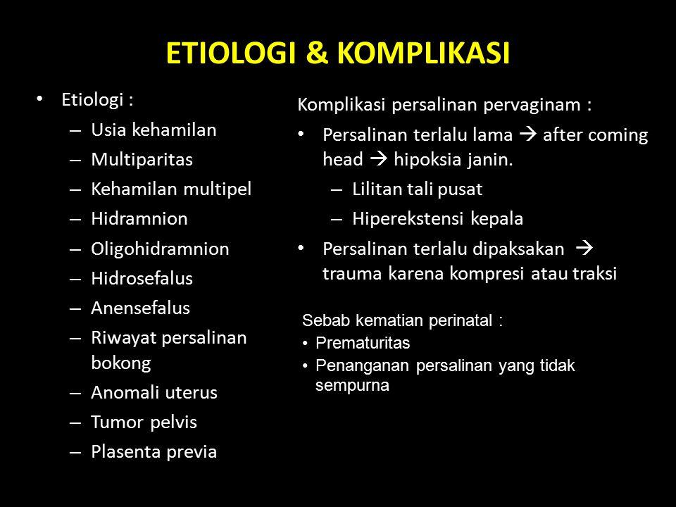 ETIOLOGI & KOMPLIKASI Etiologi : Komplikasi persalinan pervaginam :