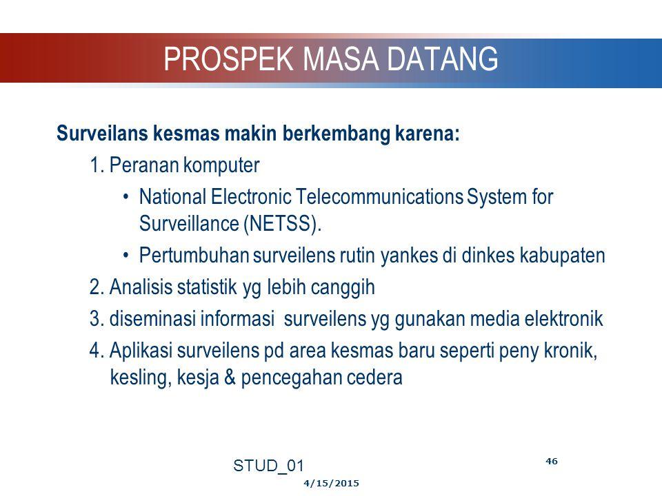 PROSPEK MASA DATANG Surveilans kesmas makin berkembang karena: