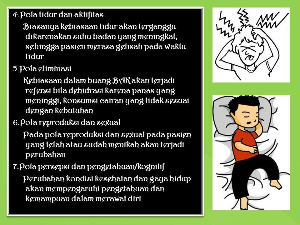 4.Pola tidur dan aktifitas Biasanya kebiasaan tidur akan terganggu dikarenakan suhu badan yang meningkat, sehingga pasien merasa gelisah pada waktu tidur 5.Pola eliminasi Kebiasaan dalam buang BAK akan terjadi refensi bila dehidrasi karena panas yang meninggi, konsumsi cairan yang tidak sesuai dengan kebutuhan 6.Pola reproduksi dan sexual Pada pola reproduksi dan sexual pada pasien yang telah atau sudah menikah akan terjadi perubahan 7.Pola persepsi dan pengetahuan/kognitif Perubahan kondisi kesehatan dan gaya hidup akan mempengaruhi pengetahuan dan kemampuan dalam merawat diri