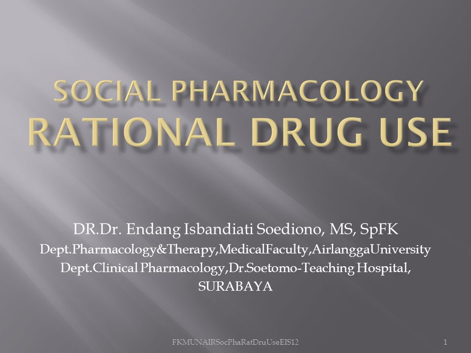 SOCIAL PHARMACOLOGY RATIONAL DRUG USE