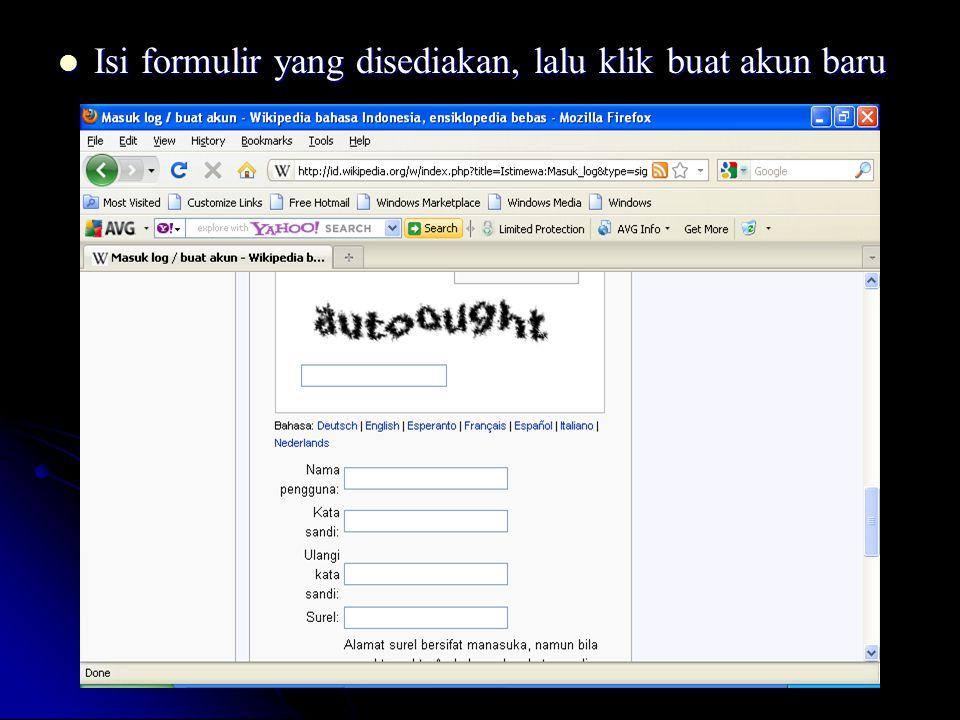 Isi formulir yang disediakan, lalu klik buat akun baru