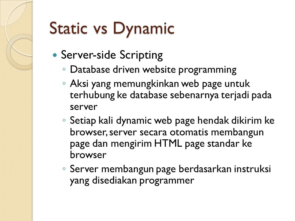 Static vs Dynamic Server-side Scripting
