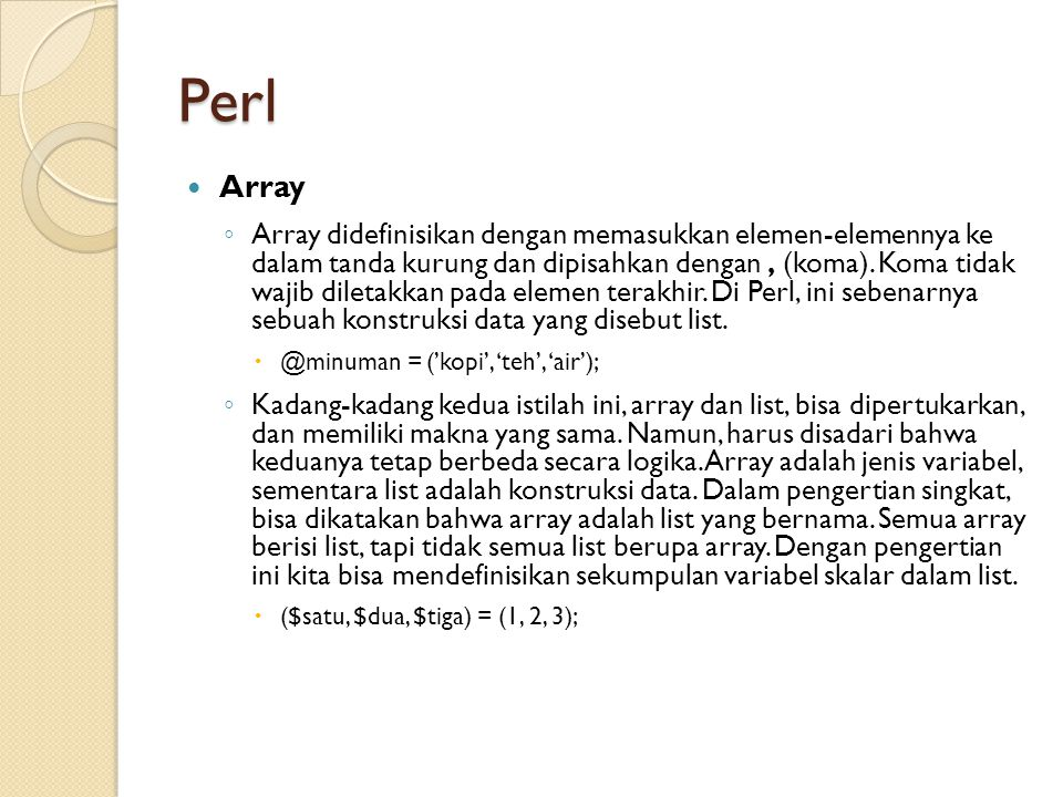 Perl Array.