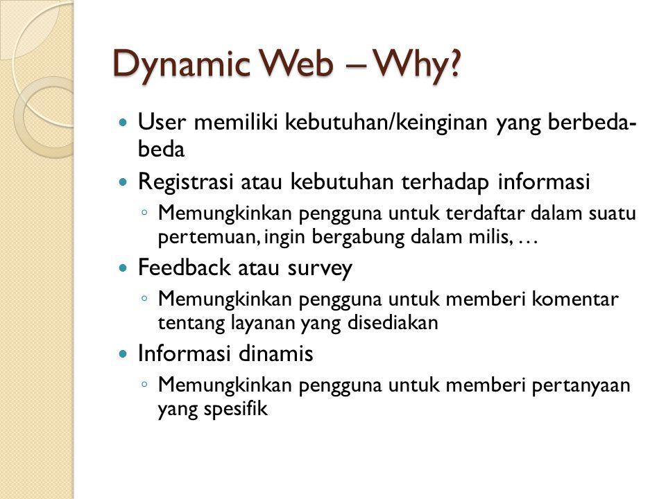 Dynamic Web – Why User memiliki kebutuhan/keinginan yang berbeda- beda. Registrasi atau kebutuhan terhadap informasi.