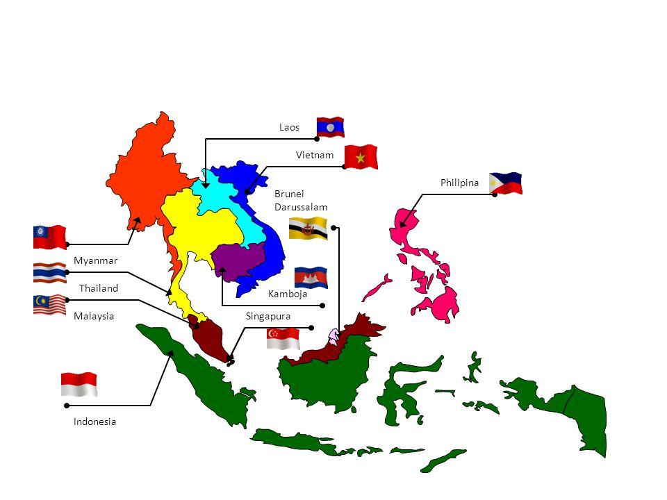 Laos Vietnam Philipina Brunei Darussalam Myanmar Thailand Kamboja Malaysia Singapura Indonesia